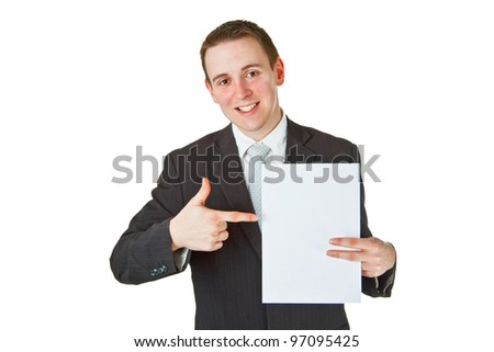 Young businessman with white paper on white background