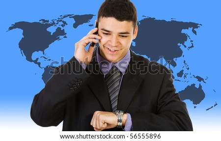 Young businessman with world map backgorund - stock photo