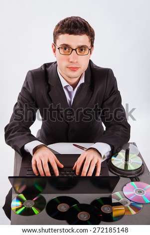 young businessman working at a laptop