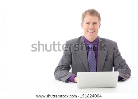 young businessman working on white background - stock photo