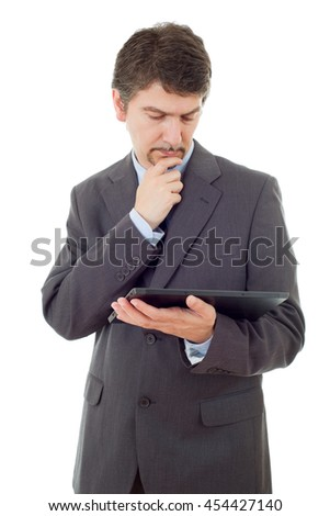 young businessman working with a tablet pc, isolated - stock photo