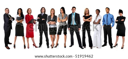 Young businessmen and businesswomen standing isolated over white background