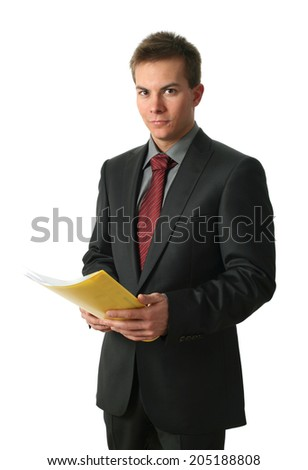 Young businessmen with documents isolated on white