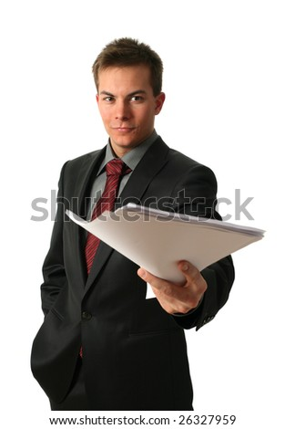 Young businessmen with documents isolated on white - stock photo