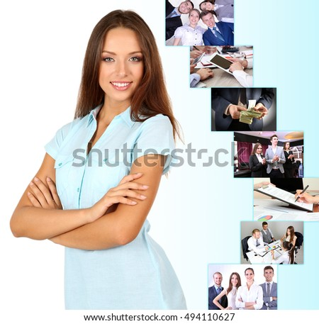 Young businesswoman and different photos on color background. Business people concept.