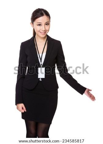 Young Businesswoman and open hand palm