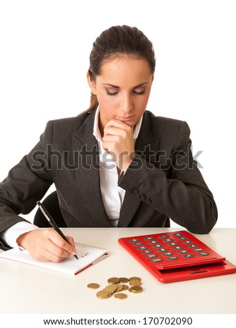 Young businesswoman calculating savings.  - stock photo