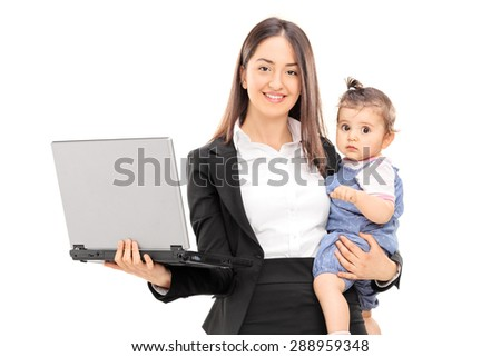Young businesswoman carrying her daughter in one hand and holding a laptop in the other isolated on white background - stock photo