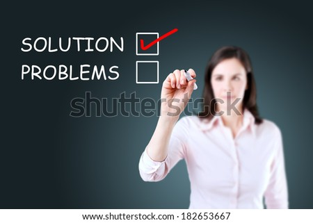 Young businesswoman check mark on solution concept.