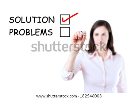 Young businesswoman check mark on solution concept. Isolated on white.