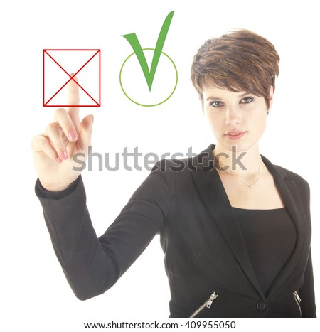 Young businesswoman choosing no over yes isolated on white background - stock photo