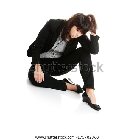Young businesswoman depression, isolated on white
