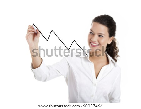 Young businesswoman drawing a chart isolated on white background