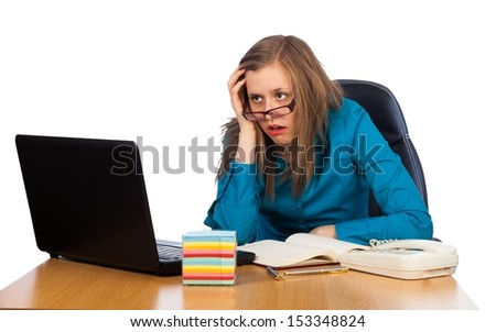 Young businesswoman feeling exhausted because of too much work. - stock photo