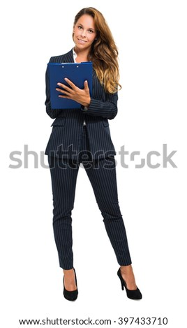 Young businesswoman full length portrait - stock photo