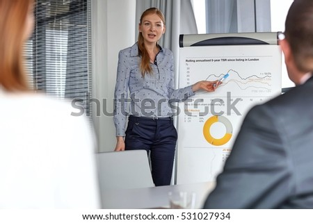 Young businesswoman giving presentation to colleagues in board room