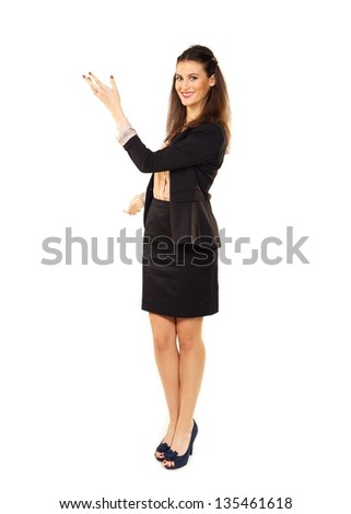 Young businesswoman hand gesturing in copyspace