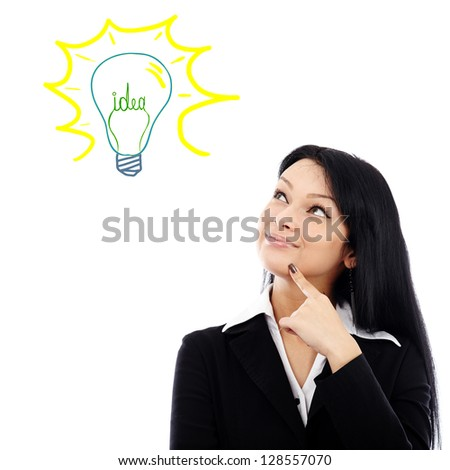 Young businesswoman having a brilliant idea, isolated on white background.Progressive idea concept - stock photo