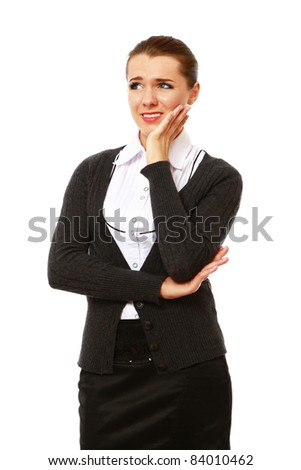 Young businesswoman  having toothache, isolated on white - stock photo
