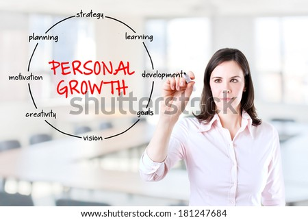 Young businesswoman holding a marker and drawing circular structure diagram of personal growth on transparent screen. Office background. - stock photo