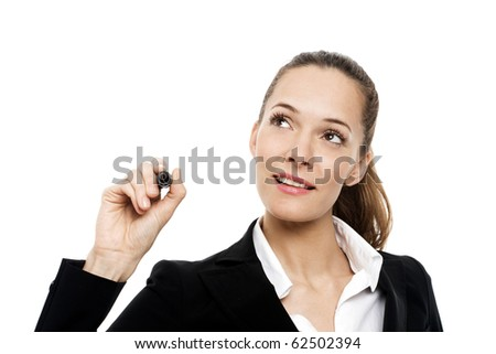Young businesswoman holding a marking pen on white background studio