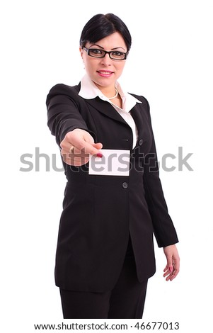 Young businesswoman holding blank business card