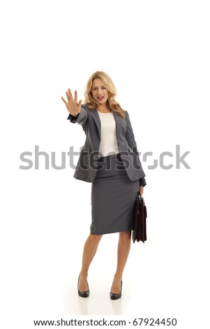 Young businesswoman holding briefcase