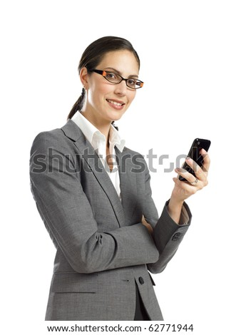 Young businesswoman holding cell phone