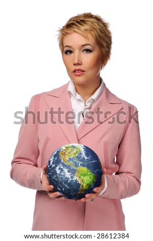 Young businesswoman holding the world isolated on a white background