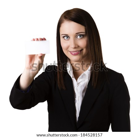 Young businesswoman holding white business card / empty paper sign with copy space. Beautiful caucasian xwoman isolated on white background (focus on face)