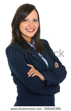 Young businesswoman in a dark costumes with arms crossed, suitable to represent a business person or secretary, isolated on white