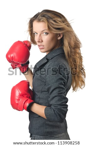 Young businesswoman in boxing concept - stock photo