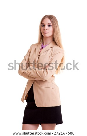 Young businesswoman in jacket isolated over white background. Studio shooting - stock photo