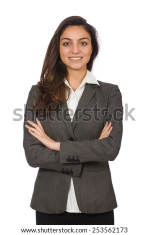 Young businesswoman isolated on the white