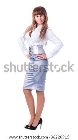 Young businesswoman. Isolated on white. - stock photo