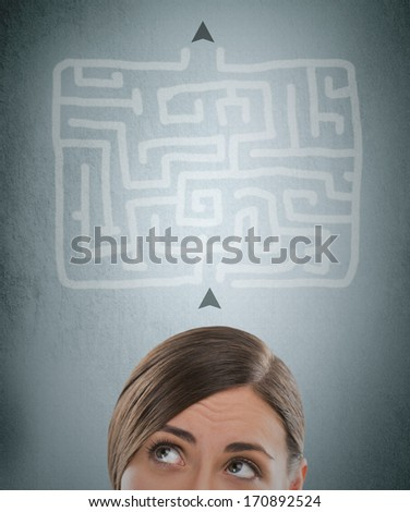 Young businesswoman looking at the labyrinth and thinking about right way - stock photo