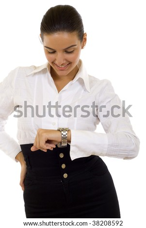 young businesswoman looking at the time over white - stock photo
