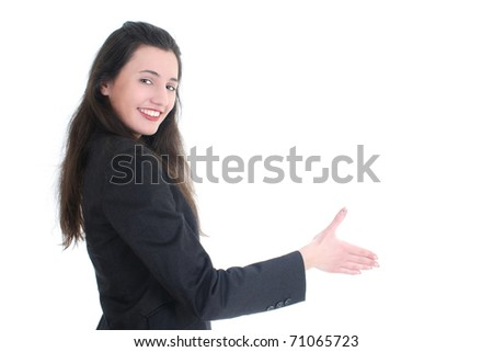 Young businesswoman offering hand for handshake over white - stock photo