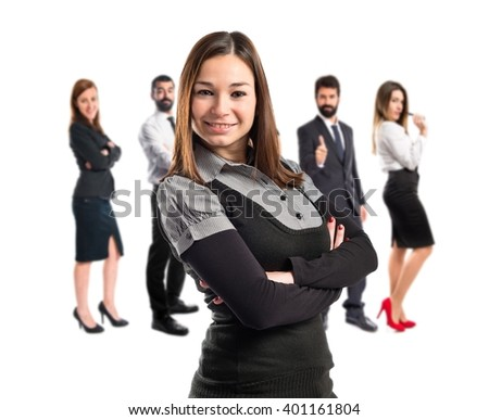 Young businesswoman over isolated white background  - stock photo