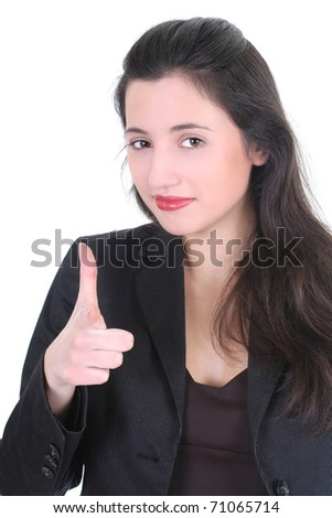 Young businesswoman pointing at you over white - stock photo