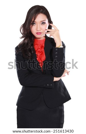 young businesswoman pose very confident, isolated on white background - stock photo