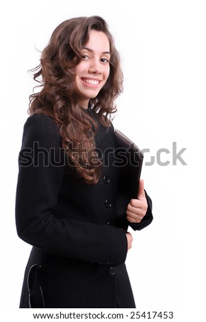 Young businesswoman posing isolated over white background