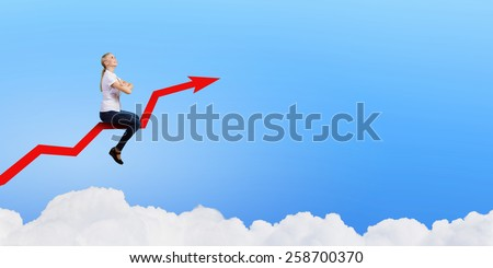 Young businesswoman riding graph arrow going up