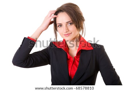 young businesswoman scratching her head, hard decision, studio shoot isolated on white background - stock photo