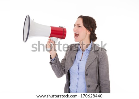 Young Businesswoman Shouting Through Megaphone On White Background