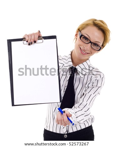 young businesswoman showing blank clipboard on a white background - stock photo