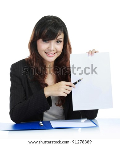 Young businesswoman showing clipboard, isolated on white