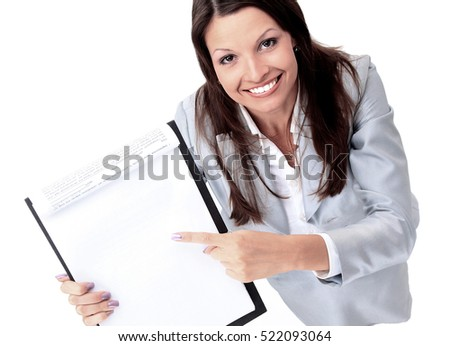 young businesswoman showing contract
