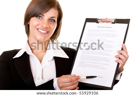 young businesswoman showing contract and where to sign