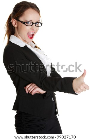 Young businesswoman showing ok sign. Isolated over white background - stock photo